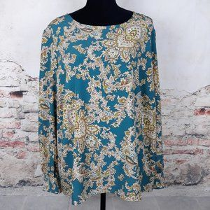 Talbots 2X Green Tan Beige Paisley Long Sleeve Top